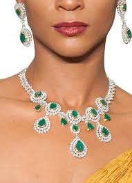 emerald necklace sets images Diagold dazzling diamond and emerald necklace set shop at jpg
