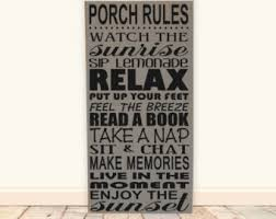 Outdoor Decorative Signs Porch Rules Sign Etsy