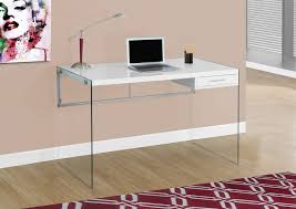 48 Office Desk 48 Glossy White Office Desk With Glass Legs Officedesk