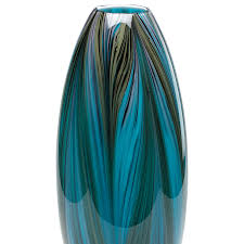 peacock blue feather vase