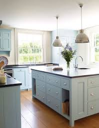 Light Blue Kitchen Cabinets by Light Blue Kitchen Farmhouse With Mixed Cabinets Midcentury Bar