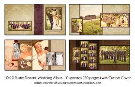 wedding album pages psd wedding album template rustic damask 10x10 10spread 20