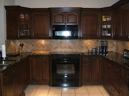 Elegant Kitchen Backsplash Elegant Kitchen Backsplash Cherry Cabinets Black Counter Gorgeous