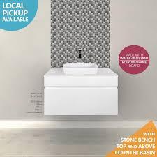 Bathroom Vanity Stone Top by Asti 600mm White Gloss Polyurethane Wall Hung Bathroom Vanity