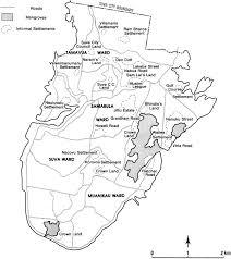 map of suva city suva city and informal settlementssource bryant 1993 69 map