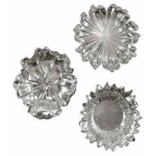 silver flowers silver flowers metal wall set of three uttermost wall