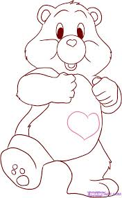 how to draw a care bear tenderheart bear step by step funshine