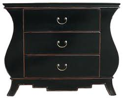 asian dressers golden lotus black lacquer curve legs 3 drawers dresser