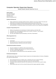 Resume Sample With Summary by Resume Samples For Supervisor Positions Resume For Your Job