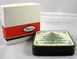 pimpernel spode 6 tree coasters w box made in