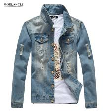 light distressed denim jacket moruancle men s ripped jeans jackets male slim fit washed distressed