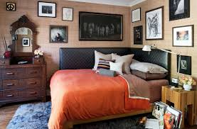 black leather corner headboard for queen bed with orange bed cover black leather corner headboard for queen bed with orange bed cover and wall picture frame decoration ideas