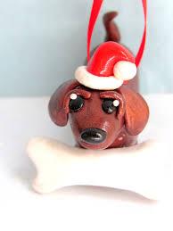 dachshund christmas ornament polymer clay dog christmas