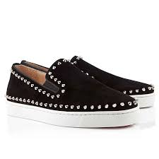 discount christian louboutin pik boat spikes suede mens flat