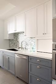 2 tone kitchen cabinets white and grey wooden kitchen cabinet connected by stainless steel