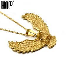 titanium gold necklace images Hip punk biker gold color titanium stainless steel animal eagle jpg