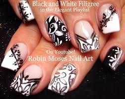 nail art black and white nails mix and match filigree nail