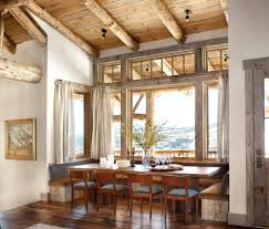 log cabin dining rooms dining room rustic with glass cabinet stone