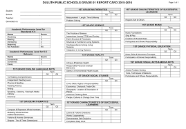 report card template pdf sle elementary report card duluth schools isd 709