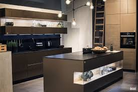 black wooden island with white countertop open shelving wine and