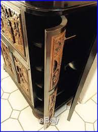 Asian Bar Cabinet Antique Lacquered Carved Chor Wood Bar Cabinet
