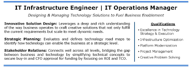 Operations Resume It Infrastructure Engineer Operations Manager Nyc Ct Candidate