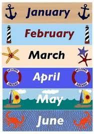 Nautical or Beach Theme Calendar Set marinarii isteți