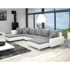 canape gris d angle meublesline canapé d angle en u dante 6 à 7 places gris et blanc