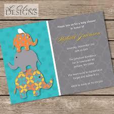 stacked elephant baby shower invitation turquoise u0026 orange diy
