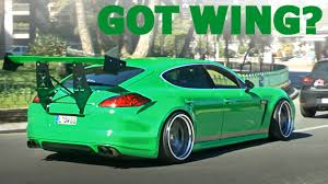 porsche widebody rear spoiler alert porsche panamera with crazy rear wing youtube