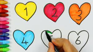 how to draw and color numbers and hearts drawing and coloring