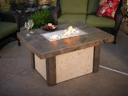 Patio Furniture Sets With Fire Pit by Outdoor Square Concrete Table With Fire Pit Completed With Green