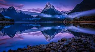 blue morning wallpapers nature landscape mountain fjord snowy peak mist water