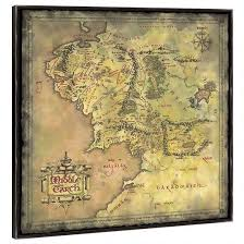 map from lord of the rings the lord of the rings middle earth map canvas in black frame