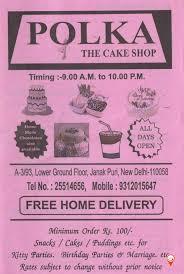 Cake Order Polka The Cake Shop Menu Janakpuri Menu Card Prices Rates