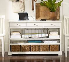 Entryway Tables And Consoles Samantha Smart Technology Console Table Antique White Pottery Barn