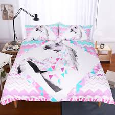 Customized Duvet Covers Lovely Unicorn Printing Duvet Cover And Pillow Cases Set 3 Piece
