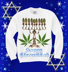 happy hanukkah sweater unisex happy chronikka marijuana sweatshirt 45 00 via