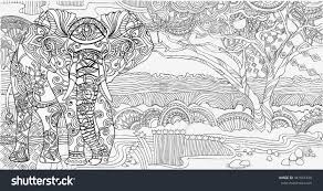 beautiful african landscape elephantcoloring pages stock vector