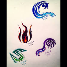 tribal drawings elements water earth wind