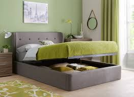 ottoman beds with mattress upholstered in a grey woven fabric this sleek ottoman bed is a
