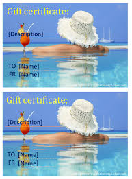 vacation gift cards summer gift certificate template gift certificates