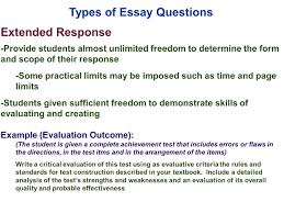 sample essay test edu 385 session 10 writing supply items short answer and essay types of essay questions