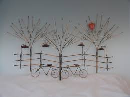 copper wall art home decor bikes and trees metal sculpturebike wall by donpoffsculptures
