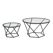 glass nesting coffee tables walker edison furniture company geometric glass nesting coffee