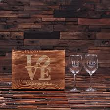 his hers wine glasses personalized his wine glass set with wood box teals
