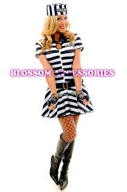 Convict Halloween Costumes F80 Ladies Prisoner Jail Bird Convict Fancy Dress Halloween
