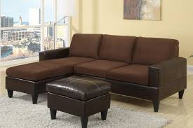 amazon com poundex compact reversible sectional with ottoman amazon com poundex compact reversible sectional with ottoman chocolate faux leather kitchen dining