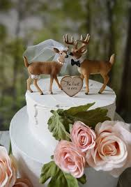buck and doe wedding cake topper deer wedding cake topper woodland animal country mossy