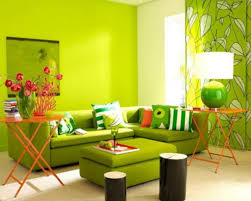 Green Living Room Color Schemes With Contemporary Table Lamps - Green and yellow color scheme living room
